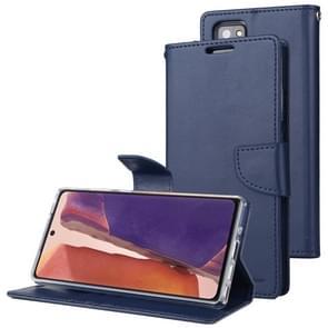 Voor Samsung Galaxy Note20 GOOSPERY Bravo Diary Crazy Horse Texture Horizontale Flip Lederen case met bracket & card slot & wallet (Navy Blue)