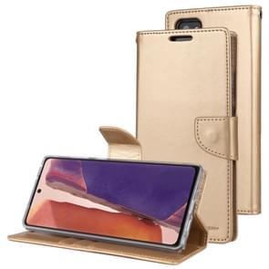 Voor Samsung Galaxy Note20 GOOSPERY Bravo Diary Crazy Horse Texture Horizontale Flip Lederen case met bracket & card slot & wallet(Goud)