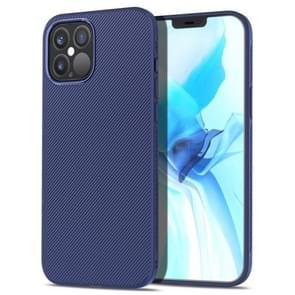 Voor iPhone 12 Pro lenuo Leshen Series Stripe Texture TPU Case (Donkerblauw)