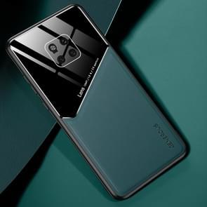 Voor Huawei Mate 20 Pro All-inclusive Leder + Biologisch Glazen Beschermhoes met metalen ijzeren plaat(groen)