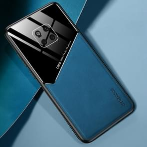 Voor Huawei Mate 20 Pro All-inclusive Leder + Organic Glass Beschermhoes met metalen ijzeren plaat(blauw)