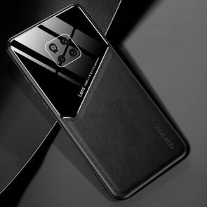 Voor Huawei Mate 20 Pro All-inclusive Leder + Organic Glass Beschermhoes met metalen ijzeren plaat(zwart)
