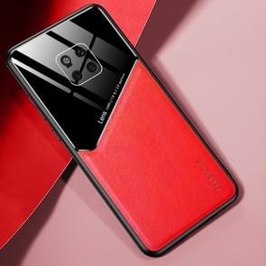 Voor Huawei Mate 20 Pro All-inclusive Leder + Biologisch Glazen Beschermhoes met metalen ijzeren plaat(rood)