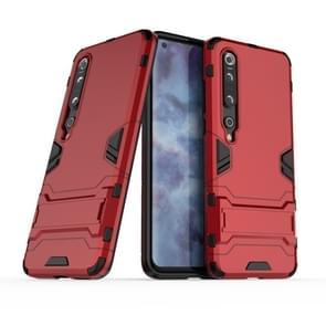 Voor Xiaomi Mi 10 Pro 5G PC + TPU Anti-fall Protective Case met Onzichtbare Houder(Rood)