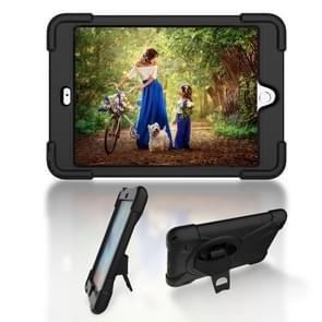 Voor iPad Mini 3 & 2 & 1 Schokbestendige Kleurrijke Siliconen + PC Beschermhoes met Holder & Hand Grip Strap(Zwart)