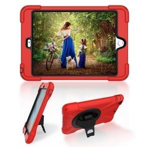 Voor iPad Mini 3 & 2 & 1 Schokbestendige Kleurrijke Siliconen + PC Beschermhoes met Holder & Hand Grip Strap(Rood)