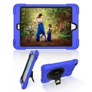 Voor iPad Mini 3 & 2 & 1 Schokbestendige Kleurrijke Siliconen + PC Beschermhoes met Holder & Hand Grip Strap(Blauw)