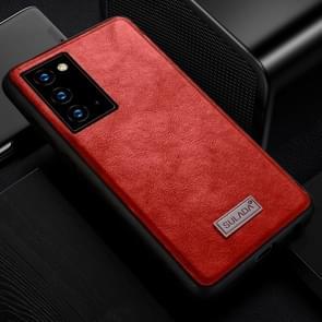 Voor Samsung Galaxy Note20 SULADA Schokbestendige TPU + Handgemaakte lederen beschermhoes(rood)