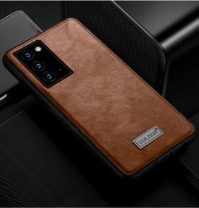 Voor Samsung Galaxy Note20 SULADA Schokbestendige TPU + Handgemaakte lederen beschermhoes(bruin)