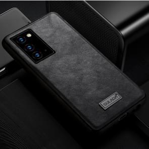 Voor Samsung Galaxy Note20 SULADA Schokbestendige TPU + Handgemaakte lederen beschermhoes(Zwart)
