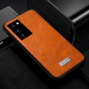 Voor Samsung Galaxy Note20 Ultra SULADA Schokbestendige TPU + Handgemaakte lederen beschermhoes (oranje)