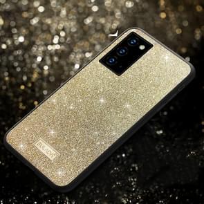 Voor Samsung Galaxy Note20 Ultra SULADA Schokbestendige TPU + Handgemaakte lederen hoes (Goud)