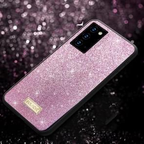 Voor Samsung Galaxy Note20 Ultra SULADA Schokbestendige TPU + Handgemaakte lederen hoes (Paars)
