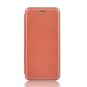 Voor Xiaomi Mi 10 Pro 5G Carbon Fiber Textuur Magnetische horizontale flip TPU + PC + PU lederen hoes met kaartsleuf(bruin)