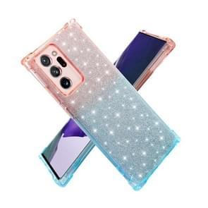 Voor Samsung Galaxy Note20 Ultra Gradient Glitter Powder Shockproof TPU Beschermhoes (Paars groen)