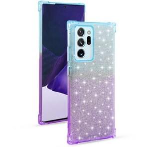 Voor Samsung Galaxy Note20 Ultra Gradient Glitter Powder Shockproof TPU Beschermhoes (Blauw Paars)