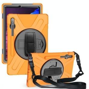 Voor Samsung Galaxy Tab S7 Plus Schokbestendige Kleurrijke Siliconen + PC Beschermhoes met Holder & Schouderband & Handband(Oranje)