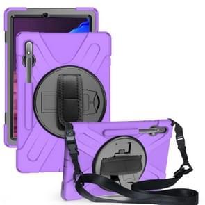 Voor Samsung Galaxy Tab S7 Plus Schokbestendige Kleurrijke Siliconen + PC Beschermhoes met Holder & Shoulder Strap & Hand Strap(Paars)
