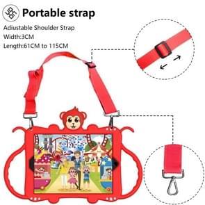 Voor iPad 9.7 (2017) Cartoon Monkey Kids Tablet Schokbestendige EVA beschermhoes met Holder & Shoulder Strap & Handle(Rood)