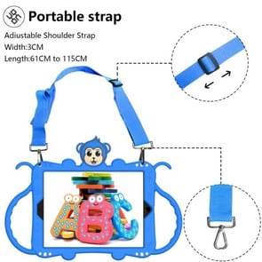 Voor iPad 9.7 (2017) Cartoon Monkey Kids Tablet Schokbestendige EVA beschermhoes met Holder & Shoulder Strap & Handle(Blauw)