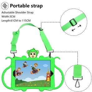 Voor iPad 9.7 (2017) Cartoon Monkey Kids Tablet Schokbestendige EVA beschermhoes met Holder & Shoulder Strap & Handle(Groen)