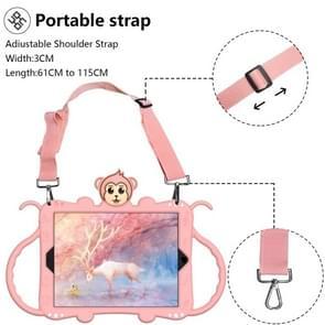 Voor iPad 9.7 (2017) Cartoon Monkey Kids Tablet Schokbestendige EVA beschermhoes met Holder & Shoulder Strap & Handle(Rose Gold)