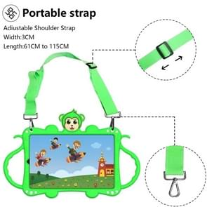 Voor Samsung Galaxy Tab A 8.4 (2020) T307 Cartoon Monkey Kids Tablet Schokbestendige EVA beschermhoes met Holder & Schouderband & Handvat(Groen)