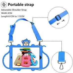 Voor iPad Pro 10.5 Cartoon Monkey Kids Tablet Schokbestendige EVA beschermhoes met Holder & Shoulder Strap & Handle(Blue)