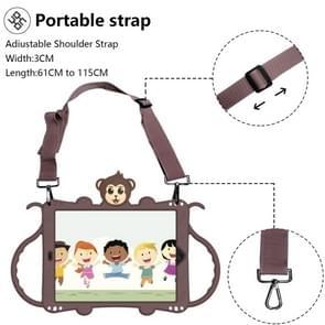 Voor iPad Pro 10.5 Cartoon Monkey Kids Tablet Schokbestendige EVA beschermhoes met Holder & Shoulder Strap & Handle(Brown)