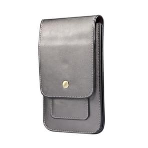 Lambskin Texture Men Phone Universal Double Lattice Waist Bag Leather Case  Maat:L(Grijs)