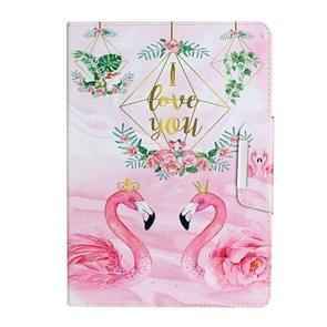 Voor iPad Pro 10 5 inch painted patroon horizontale flip lederen behuizing met houder (Leaves Flamingo)