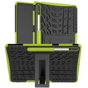 Voor Samsung Galaxy Tab S7+ T970 / T976B Tire Texture Shockproof TPU + PC Beschermhoes met houder(groen)
