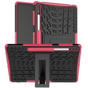 Voor Samsung Galaxy Tab S7+ T970 / T976B Band Texture Shockproof TPU + PC Beschermhoes met houder (Rose Red)