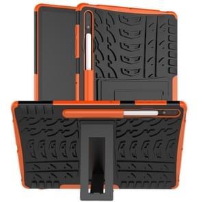 Voor Samsung Galaxy Tab S7+ T970 / T976B Band Texture Shockproof TPU + PC Beschermhoes met houder(oranje)