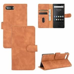 Voor BlackBerry KEY2 Solid Color Skin Feel Magnetic Buckle Horizontal Flip Calf Texture PU Leather Case with Holder & Card Slots & Wallet(Brown)