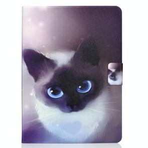 Voor iPad Air 2020 10.9 Elektrisch geperst gekleurde tekening horizontale flip lederen kast met Holder & Card Slots & Sleep / Wake-up functie(Blue Eyed Cat)