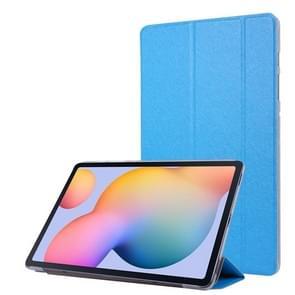 Voor Samsung Galaxy Tab S7+ / T970 Silk Texture Drievoudig horizontaal flip lederen kast met Holder & Pen Slot (Sky Blue)