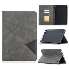 Voor Amazon Kindle Fire HD8 (2020) Rhombus Texture Horizontale Flip Magnetic Leather Case met Holder & Card Slots(Grijs)