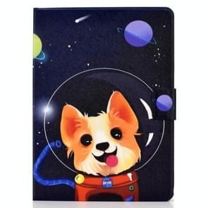 Voor iPad Air 2020 10.9 Elektrisch geperst gekleurde tekening horizontale flip lederen kast met houder & kaartslots & slaap / wake-up functie(Space Dog)