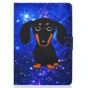 Voor iPad Air 2020 10.9 Elektrisch geperst gekleurde tekening horizontale flip lederen kast met houder & kaartslots & slaap / wake-up functie(Little Black Dog)