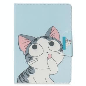 Voor Samsung Galaxy Tab 4 10.1 / T530 Painted Pattern Horizontale Flip Lederen case met Holder & Card Slots & Wallet(Cat)