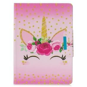 Voor Samsung Galaxy Tab 4 10.1 / T530 Painted Pattern Horizontale Flip Lederen case met Holder & Card Slots & Wallet(Eenhoorn met bloemen)