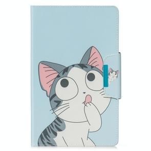 Voor Samsung Galaxy Tab E 9.6 / T560 Painted Pattern Horizontale Flip Lederen case met Holder & Card Slots & Wallet(Cat)