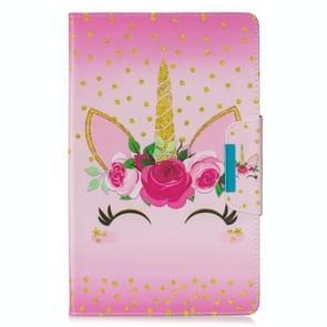 Voor Samsung Galaxy Tab E 9.6 / T560 Painted Pattern Horizontale Flip Lederen Case met Holder & Card Slots & Wallet(Eenhoorn met bloemen)