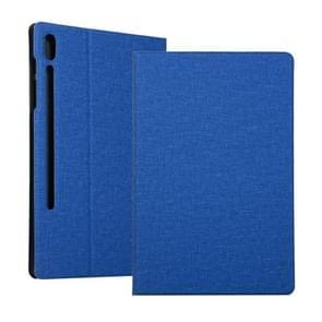 Voor Samsung Galaxy Tab S7+ / T970 Fabric Texture Horizontale Flip PU Lederen behuizing met houder(blauw)