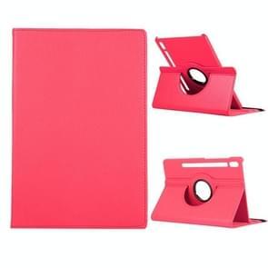 Voor Samsung Galaxy Tab S7+ / T970 360 graden Rotatie Litchi Texture Flip Lederen behuizing met houder (Rose Red)