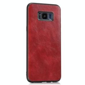 Voor Samsung Galaxy S8 Crazy Horse Getexturd Kalfsleer PU +PC + TPU Case (Rood)
