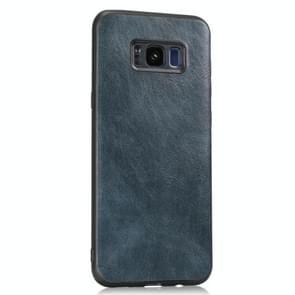 Voor Samsung Galaxy S8 Crazy Horse Getexturd Kalfsleer PU +PC + TPU Case(Blauw)