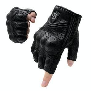 WUPP CS-1045A Motorcycle Racing Cycling Echt leer ademend half vinger handschoenen  maat: L (Zwart)