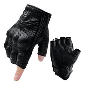 WUPP CS-1045A Motorcycle Racing Cycling Echt leer ademend half vinger handschoenen  grootte: XXL (Zwart)